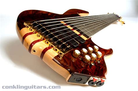 Handmade Bass - custom shop cocobolo top sidewinder 9 string bass