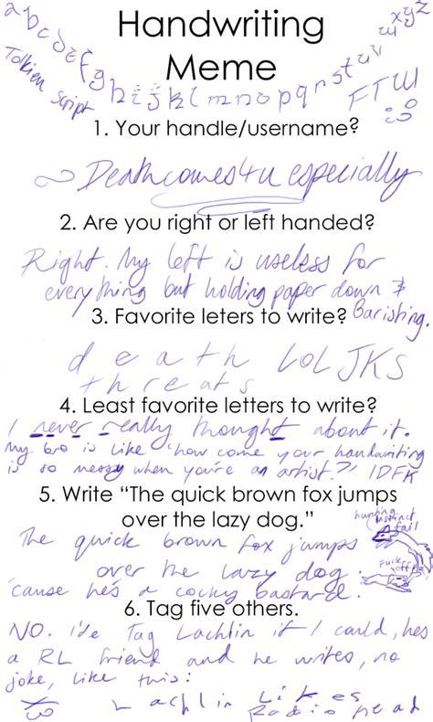 Handwriting Meme - handwriting meme by deathcomes4u on deviantart