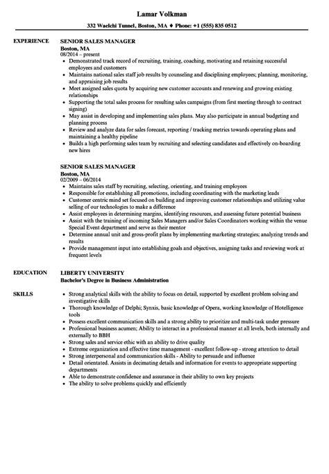senior sales manager resume sles velvet