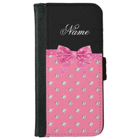 Casing Iphone 6 6s Beerus Z Hardcase Custom personalized name pink diamonds pink bow iphone 6 6s wallet zazzle