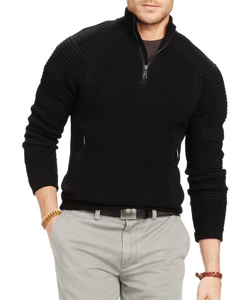 Sweater Polos Zipper Lyst Ralph Polo Wool Half Zip Sweater In Black