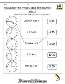 time worksheet oclock quarter and half past workbook