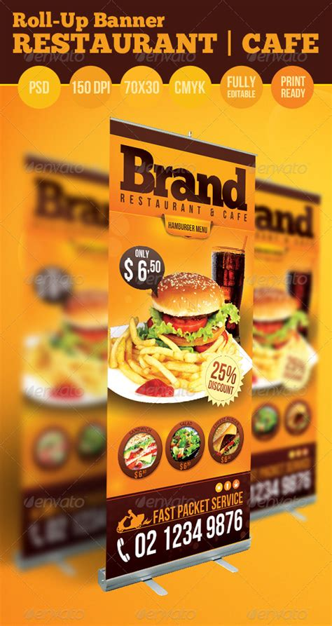 food banner template restaurant cafe roll up banner graphicriver