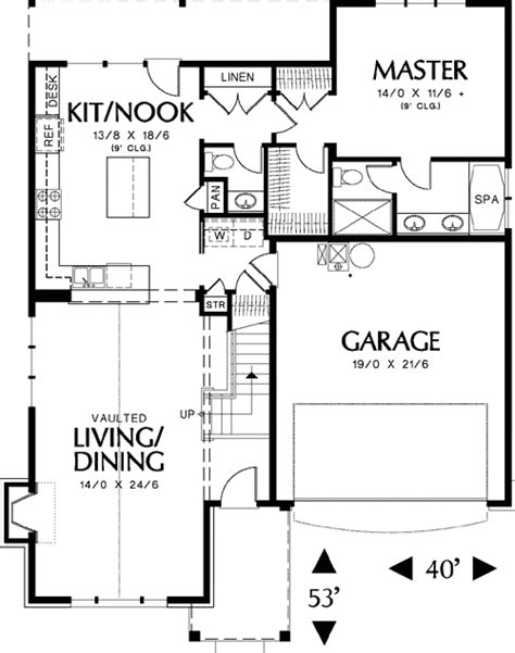 Small House Plans Vaulted Ceilings Small Family Cottage Plan With Vaulted Ceilings 69125am