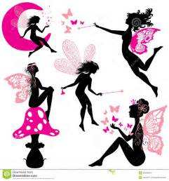 A Frame Plans Free by Set Of Silhouette Fairy Girls With Butterflies Stock