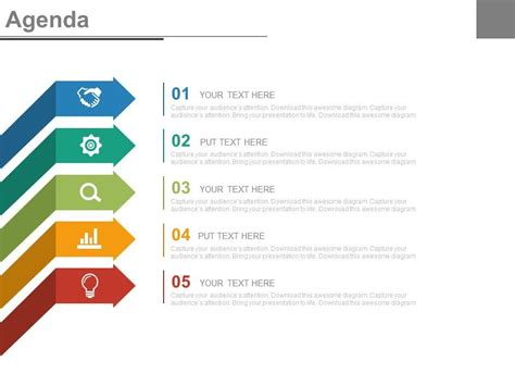 Five Staged Arrows And Icons For Business Agenda Presentation Agenda Template