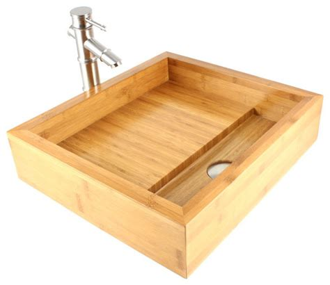 Bamboo Kitchen Sink Bamboo Countertop Bathroom Lavatory Vessel Sink Modern Bathroom Sinks By Emodern Decor