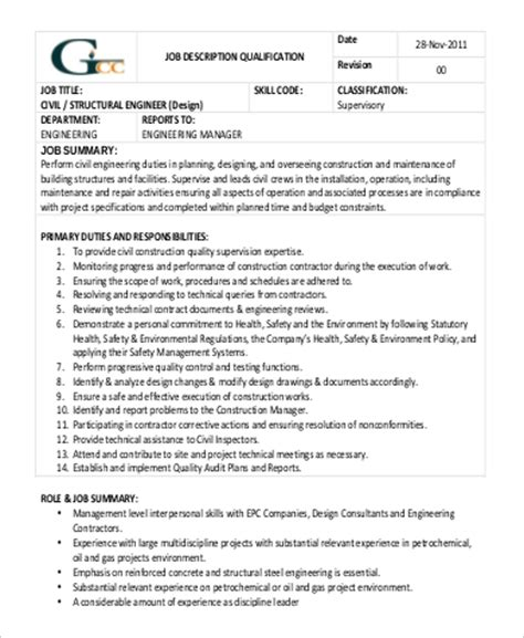 design engineer jobs for civil structural engineer job description sle 9 exles