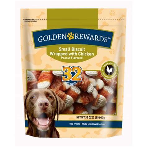 golden rewards treats golden rewards small biscuit wrapped with chicken peanut flavored treats 32 oz