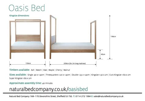 bed measurements oasis contemporary 4 poster bed natural bed company
