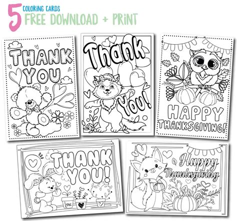 printable thank you cards you can color calm kids at thanksgiving here s a simple exercise and