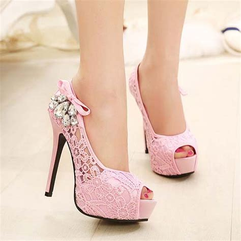 pink peep toe lace high heeled shoes sws20179