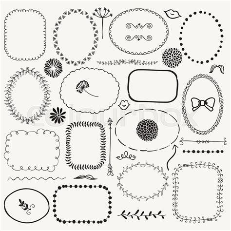 free doodle frame font set of decorative black sketched rustic floral doodle