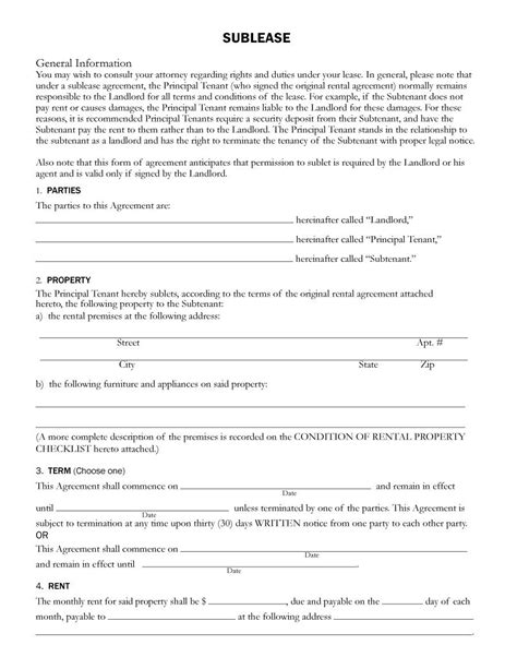 40 Professional Sublease Agreement Templates Forms Template Lab Sublease Agreement Template Nyc