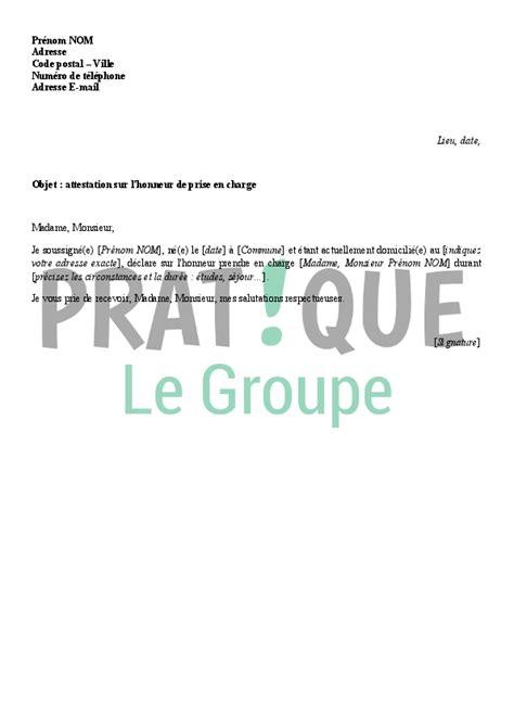 Lettre De Prise En Charge Pour Visa Belgique modele attestation prise en charge etudiant etranger