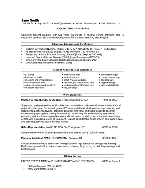 10 licensed practical lpn resume sle and