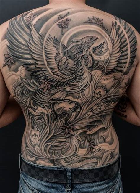 black and grey back tattoos black and grey phoenix tattoo on man full back by winson