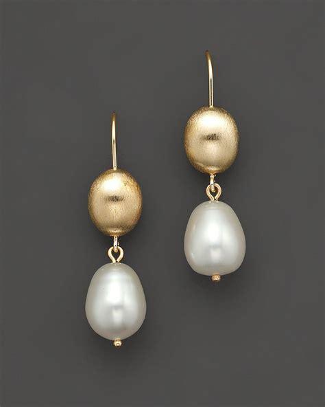 cultured freshwater pearl drop earrings in 14k yellow gold