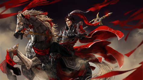 jian wang  ancient warrior   red cloak feathered