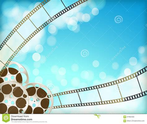 Abstrack Ruflle cinema blue background with retro reel