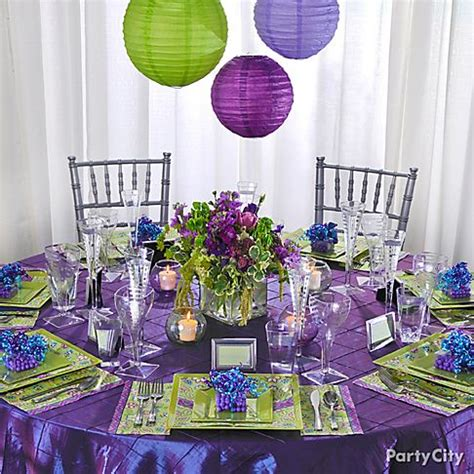 purple and green bridal shower decorations wedding reception in purple and green make a statement