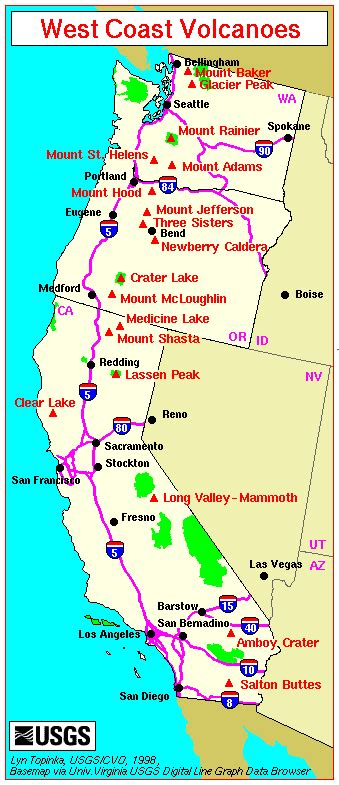 map of the united states west coast map major west coast volcanoes we call this home