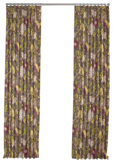 bold curtains bold lime and purple floral pleated curtain single panel