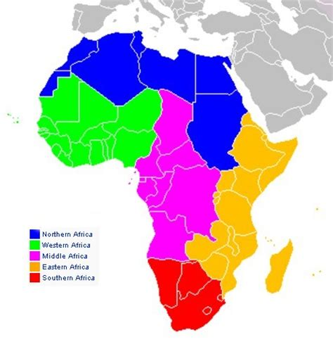 5 regions of africa map maps of america