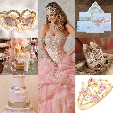 rose themed quince pink and gold mascarade quinceanera theme pink mascarade