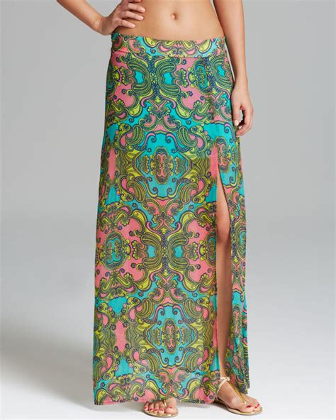 ondademar arcadia lined maxi skirt swim cover up in green