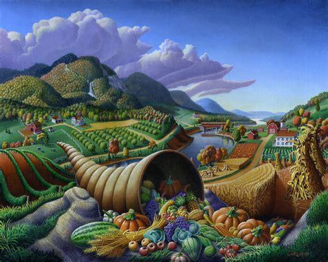 Landscape With Food Horn Of Plenty Cornucopia Autumn Thanksgiving Harvest