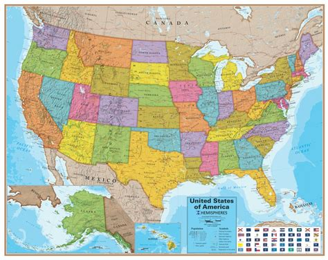 map of the united states with all bodies of water wall map of the united states laminated just 19 99