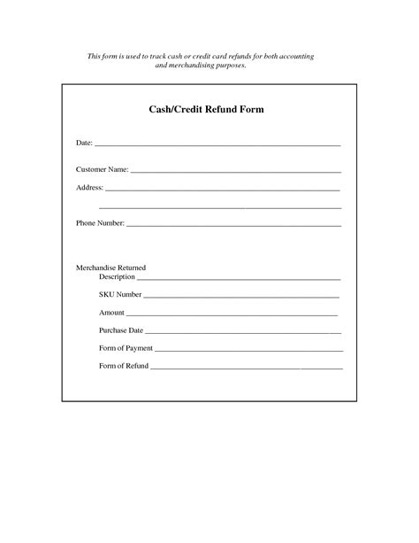 refund receipt template best photos of refund form template refund request form
