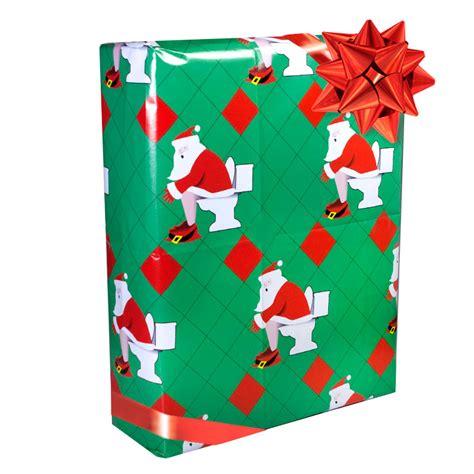 wrap gifts stupid com toilet santa gift wrap