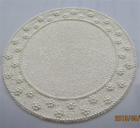 beaded placemat handmade 35 cm posavasos vintage beaded placemat