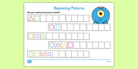 continuing patterns ks1 shape repeating pattern activity sheets shapes repeating