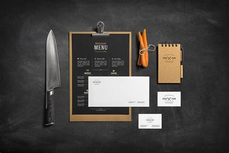 Interior Design Template restaurant amp bar stationery branding mockup mockup cloud