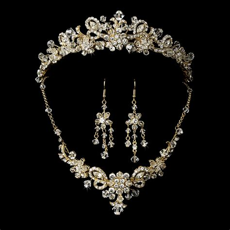 gold swarovski bridal jewelry set and tiara