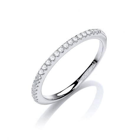 swarovski zirconia half eternity silver ring by david deyong
