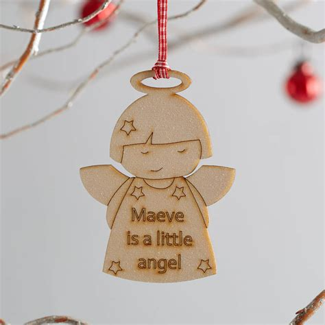 personalised angel wooden christmas decoration by we are