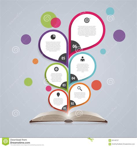 open book infographic vector free download infographic design template with book abstract tree vector illustration stock vector image