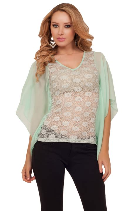 cocktail tops sheer lace mesh drop hanging sleeve see through evening
