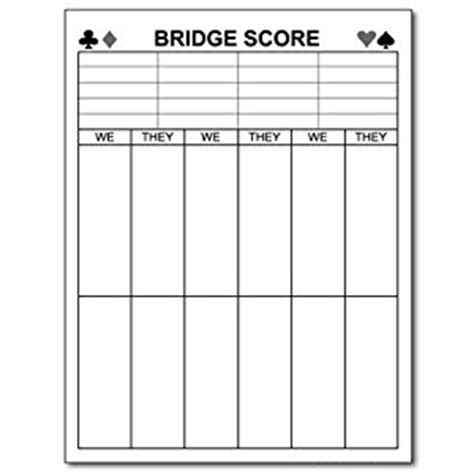 bridge tally template printable bridge score pads quotes