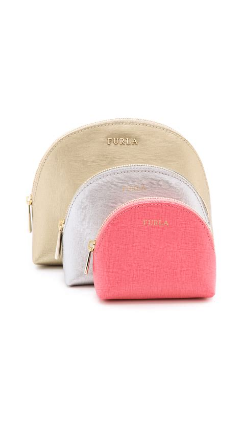 furla babylon 3 in 1 cosmetic set pink pale pink taupe in lyst