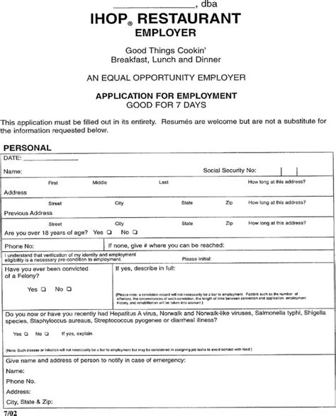 sample generic application for employment rental