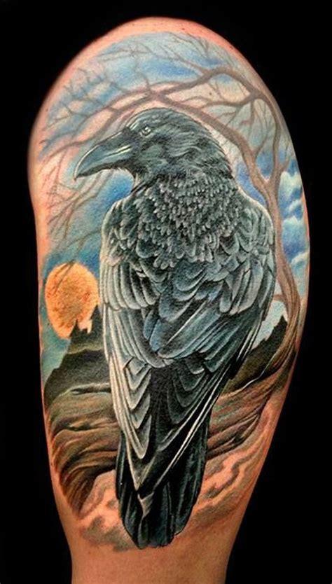 bird quarter sleeve tattoo realistic 3d raven bird tattoo on men half sleeve