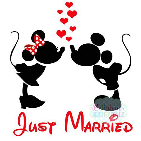 Just Married IRON ON TRANSFER  Minnie Mouse   Mickey Mouse