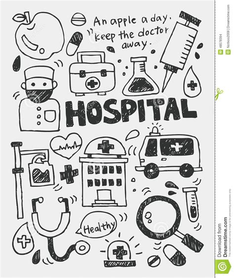 doodle doctor free hospital elements doodles line icon eps10 stock