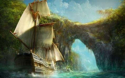 hd magical ship wallpaper
