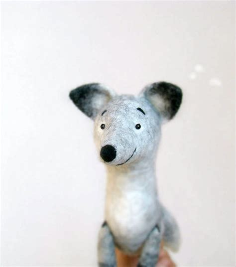 felt toy silver fox antuon art toy fox plush felted fox